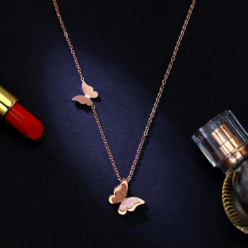 Stainless Steel Rose Gold Butterfly Necklace Delicate Butterfly