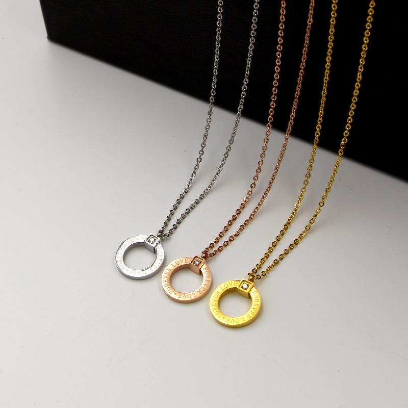 Forever Love Pendant Necklace - Woman Stainless Steel Pendant Necklace - Gold Love Necklace
