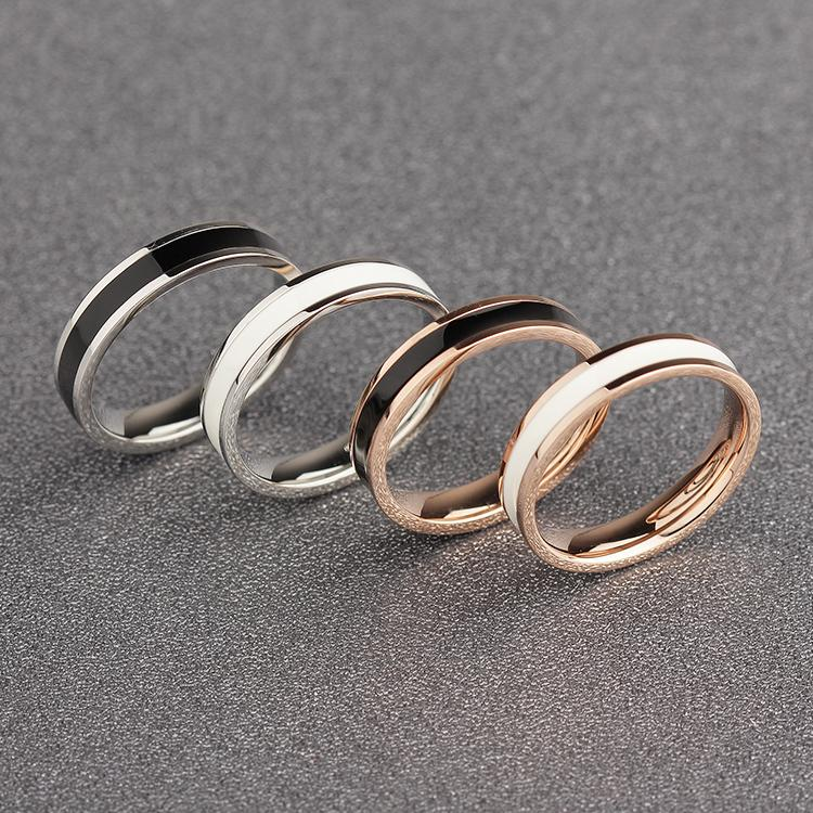 Rose Gold Color White Black Ceramic Ring for Woman - Stainless Steel Rose Gold Wedding Band - Stainless Steel White and Gold Ring