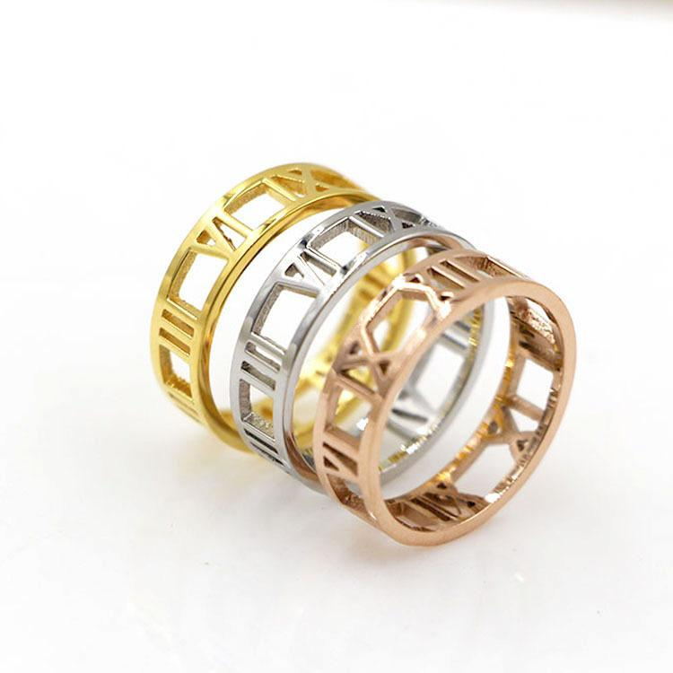 Womans Stainless Steel Roman Numerals Ring Womans Stainless Steel