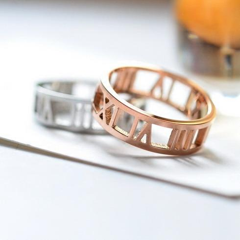Womans Stainless Steel Roman Numerals Ring - Womans Stainless Steel Jewelry - Gold, Silver, or Rose Gold Roman Numeral Ring