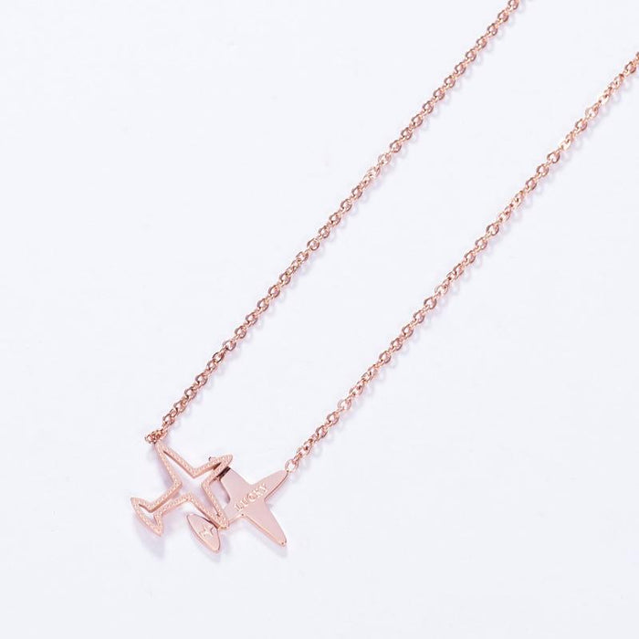 Lucky Airplane Pendant Necklace - Womans Stainless Steel Airplane Pendant Necklace - Rose Gold Necklace