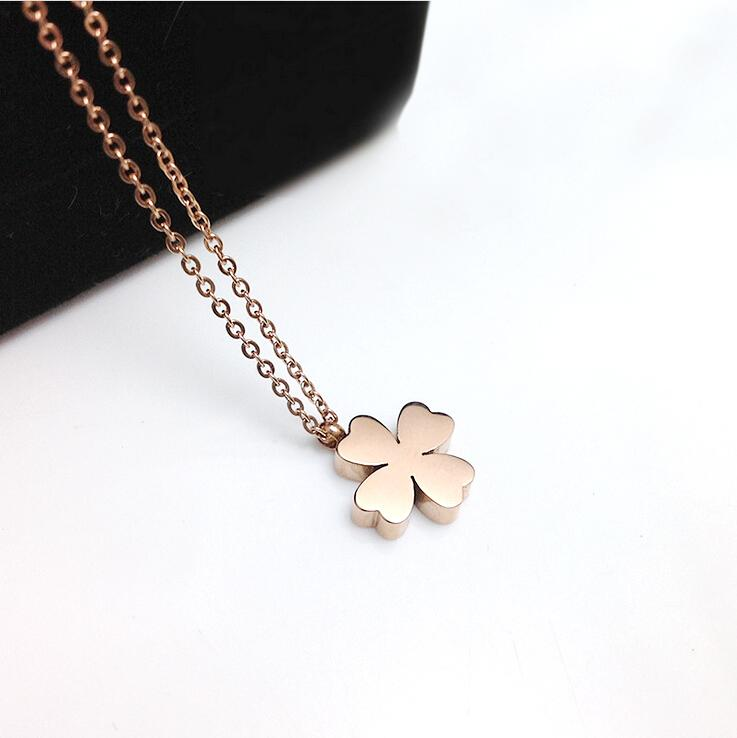 Stainless Steel Four Leaf Clover Pendant Necklace - Womans Four Leaf Clover Gold Necklace