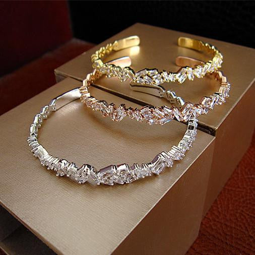 Baguette Bangle - Platinum Plated with Swarovski Cut Stones - 18K Gold Plated, Platinum or Rose Gold