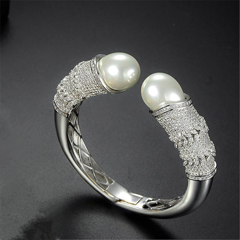 Double Pearl Bangle - Platinum Plated with Swarovski and Antique Detail