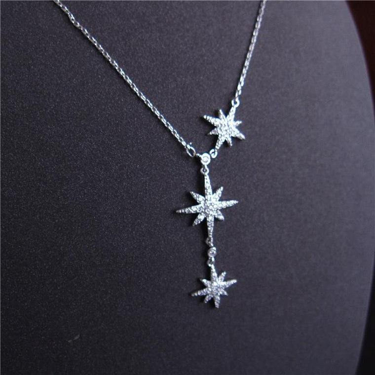 Three Stars Necklace - Silver Finish with Australian Crystals Clear