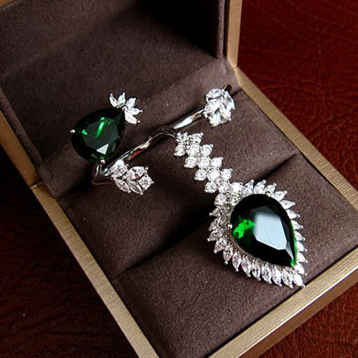 Emerald Ring Set - 925 Sterling Silver with Swarovski Cut Stones