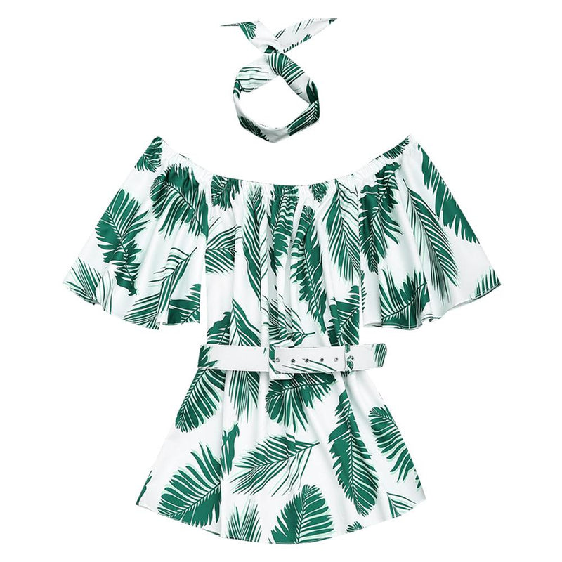 Leaves Print Off the Shoulder Choker Belted Beach Dress - Elastic Shoulder