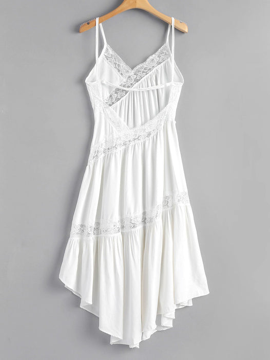 Asymmetrical Lace Day Dress - White Lace Dress