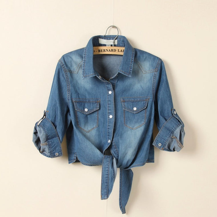 CHIC NYC Runway Jeans Blouse Summer Shirts Dark Blue