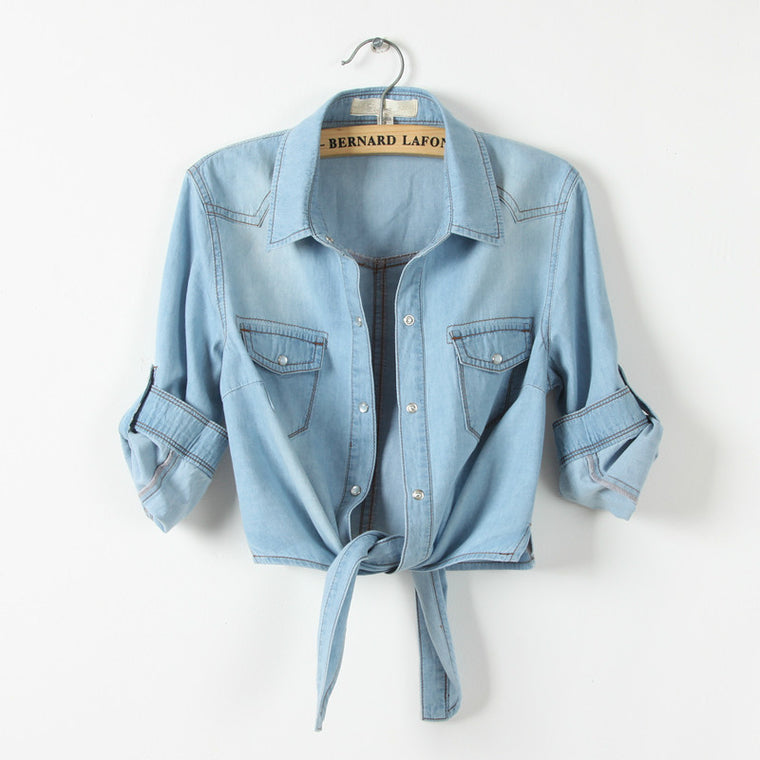 CHIC NYC Runway Jeans Blouse Summer Shirts Light Blue