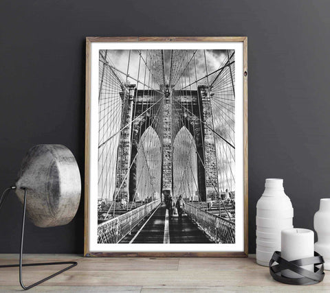 Brooklyn bridge - Monochrome Personliga posters, art prints Pansarhiertadesign