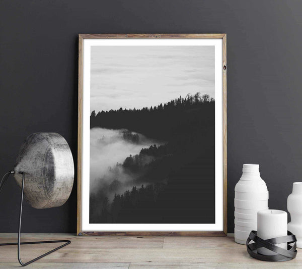 Foggy forest - Monochrome Personliga posters, art prints Pansarhiertadesign