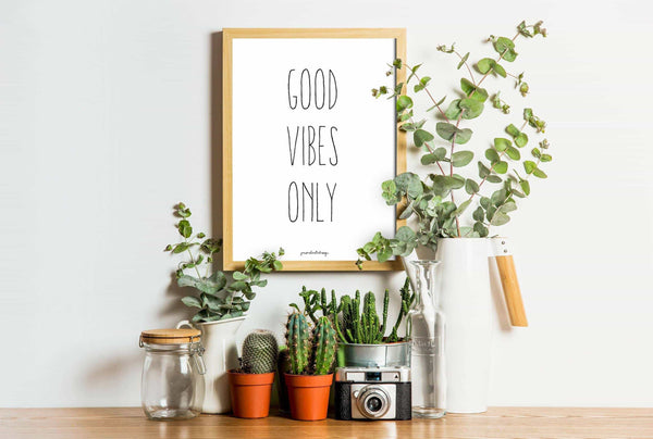 Citat - Good Vibes Only Personliga posters, art prints Pansarhiertadesign