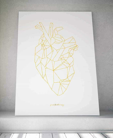 Line art - Heart of gold Personliga posters, art prints Pansarhiertadesign