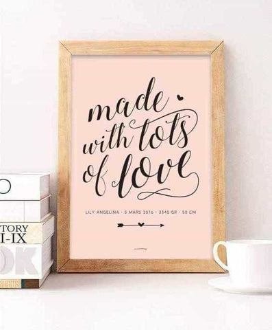 Made with lots of love Personliga posters, art prints Pansarhiertadesign