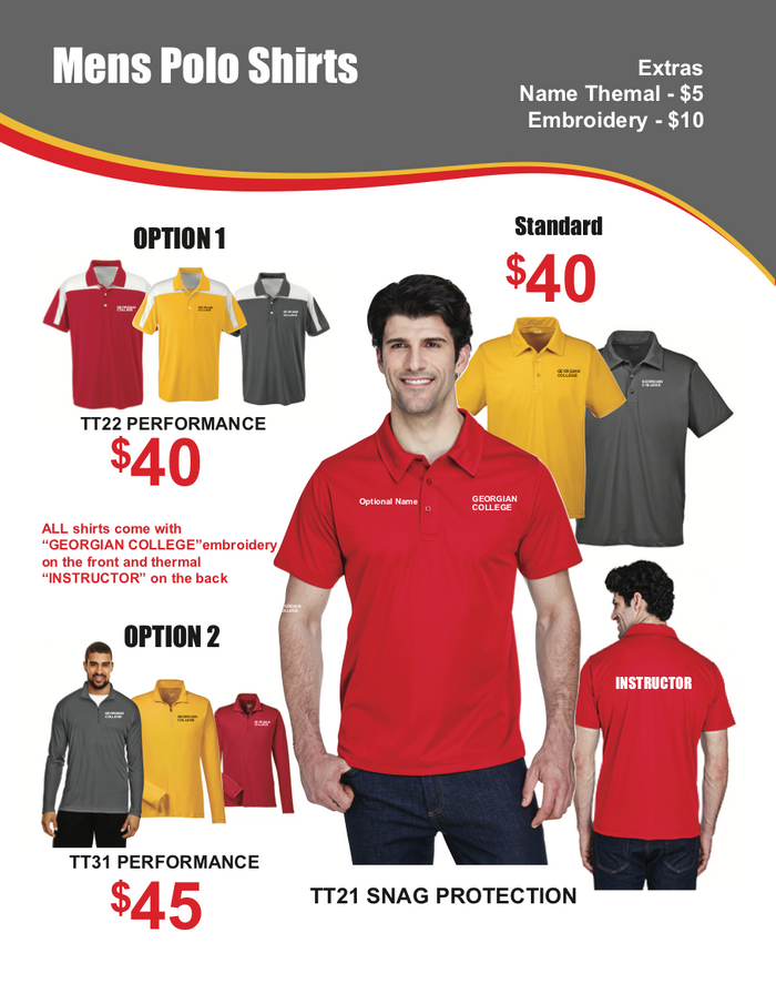 Georgian College Motorcycle Instructor Apparel - Men's Polo Shirts