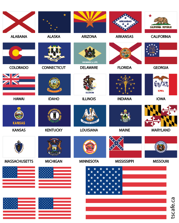 United States Flags - Reflective Decals A-M