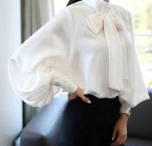 Blouse 2019 New Spring Autumn Blouse Women Lantern Sleeve Bow Neck Loose Size Elegant Chiffon Ruffle Shirt Clothing Okb516