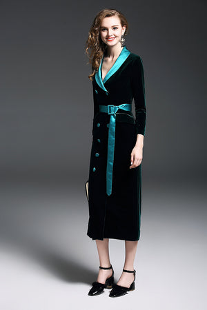 Office Style Dress  European Black Green Velvet Blazer Women Slim Double Breasted Button Sashes Long Office Velvet Blazer Dress Jacket Lady Cloth
