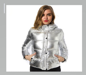 Parka Women winter jackets Short warm coat Silver metal color bread style ladies parka winterjas dames abrigos mujer invierno