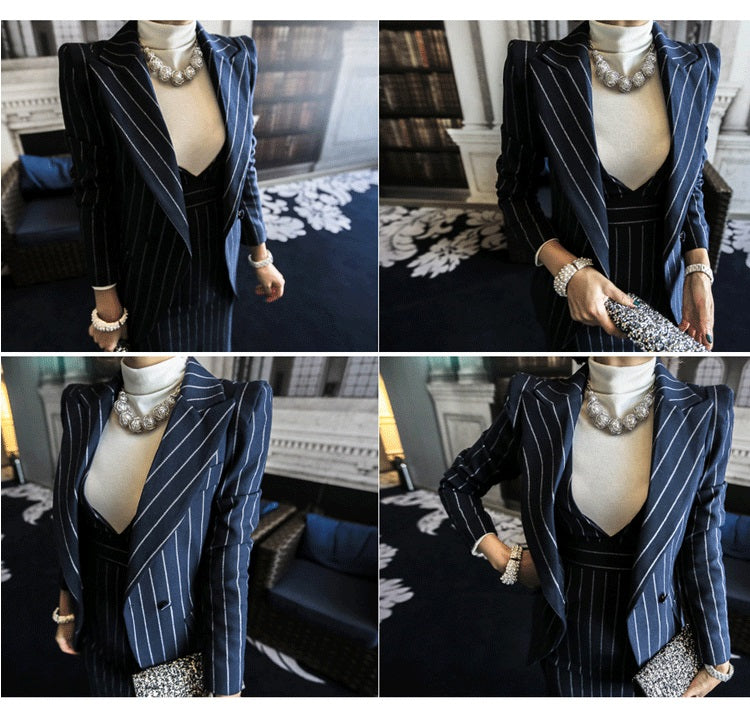 Office Female Suit Professional Wear Women's Dress Skirt Spring Autumn Temperament Slim Pin Striped Vest Skirt Lapel Small Suit Long Sleeved Jacket BSQ08