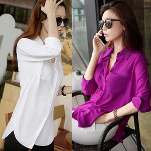 Blouse Fashion Women Chiffon Blouse Top Pockets Long Sleeve Shirt  2 Solid Colors