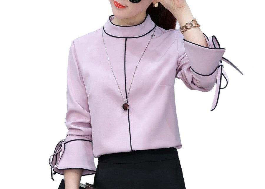 Blouse Pink Sweet Lady Blouse Chiffon Tops with Ring Collar Size S-2XL New Trend European Style Elegant Women Fashion Shirts