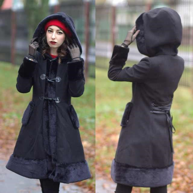 Trench Coat Gothic Coat Black Flocking Women Winter Overcoat Hooded Vintage Slim Goth Trench Retro Outwear Tops Autumn Gothics Coats
