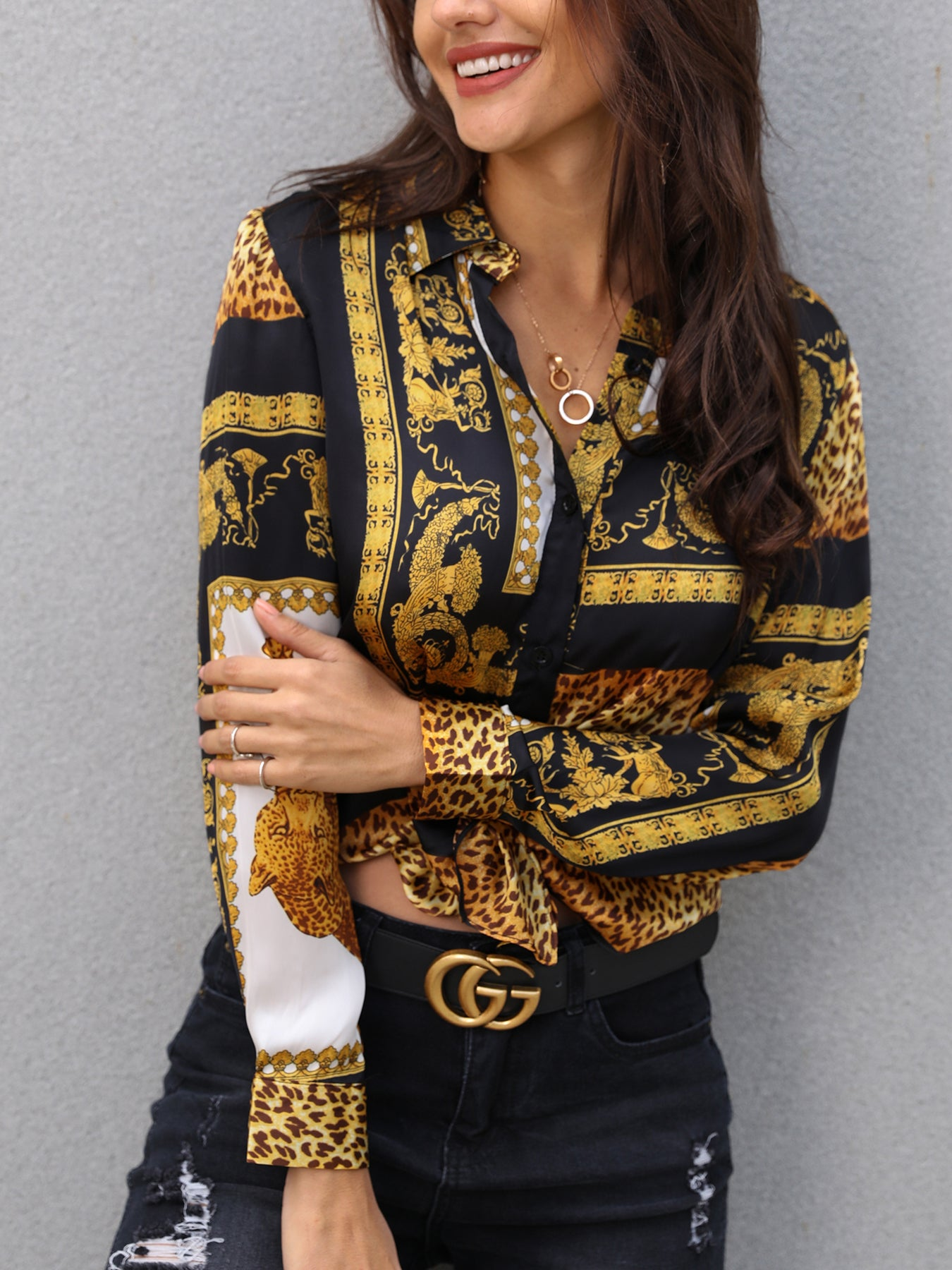 Blouse 2019 Spring Women Leopard Print Knot Front Blouse Shirt Office Lady Elegant Turn-down Collar Long Sleeve Button Shirt