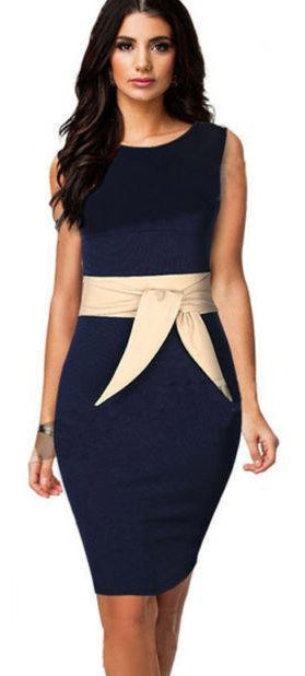 Office Style Dress New Arrival Elegant Vintage Dark Blue Office Dress Slim Bodycon Sheath Summer Style