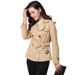 Trench Coat New Short Trench Coat Women 2019 Spring Autumn Cotton Windbreaker Casual Tops Female Belt Slim Double-breasted Short Coats A2471