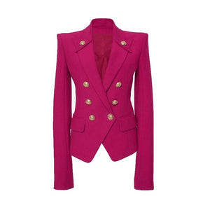 Blazer Fashion Slim Blazer Femme Spring Suit Jacket Female Work Office Lady Suit Rose Red Double Breasted Business Notched Blazer Women