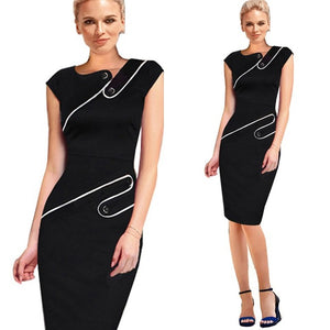 Office Style Dress Black Dress Tunic Women Formal Work Office Sheath Patchwork Line Asymmetrical Neck Knee Length Plus Size Pencil Dress B63 B231