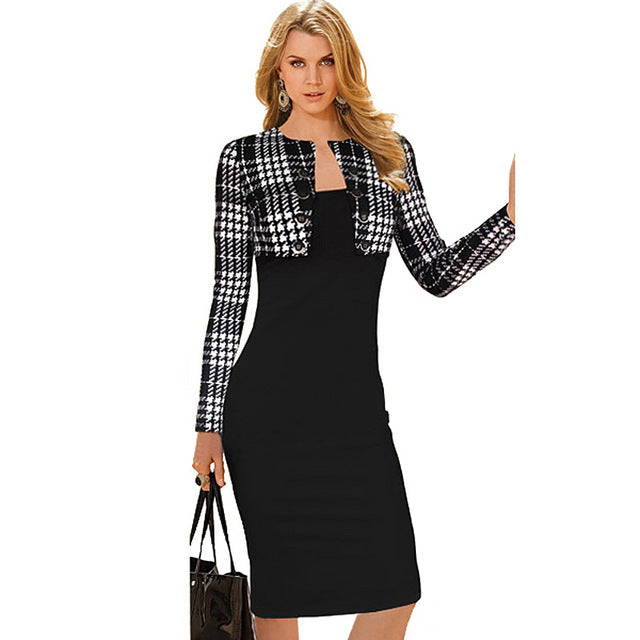 Office Style Dress Winter Long Sleeve Buttons office Business Dress Elegant Plus Size Women Vintage Pinup Bodycon Pencil Dress b10