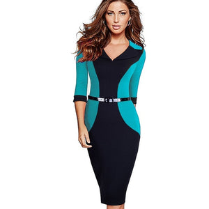 Office Style Dress Professional Women Elegant Casual Work Business Office Classic V Neck Belted Colorblock Contrasting Bodycon Pencil Dress EB354