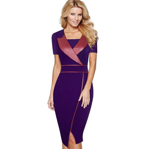 Office Style Dress Casual Work Office Business Bodycon Pencil Dress Short Sleeve