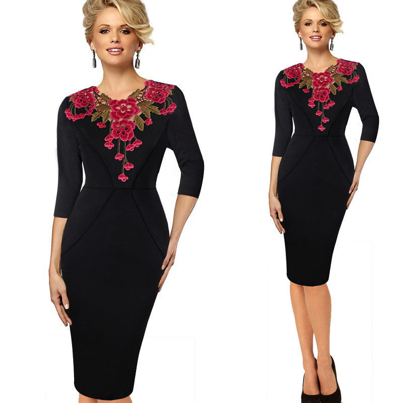664a2fad00152 Office Style Dress Three Quarter Floral Embroidery Rockabilly Women Bodycon  Pencil Dress Plus Size