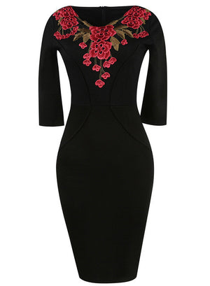 Office Style Dress Three Quarter Floral Embroidery Rockabilly Women Bodycon Pencil Dress Plus Size