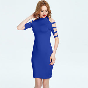 Office Style Dress Summer Wear Ladies  Cold Shoulder Dress with Hollowed Out Sleeve