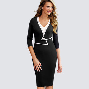 Office Style Dress Women Casual Wear To The Office Business Patchwork Bodycon Dress Elegant Colorblock Contrast Sheath Fitted Autumn Dress HB413
