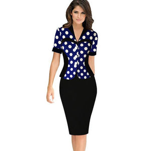 Office Style Dress Autumn Business Female Pencil Dress Work Office Sheath Bodycon Elegant Ladies Illusion Patchwork Buttons Women Dress