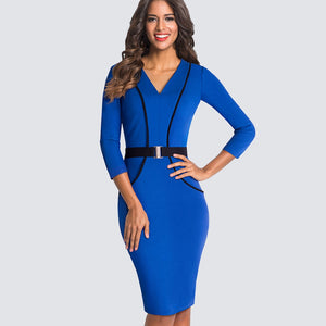 Office Style Dress Casual Business Office Ladies Dresses Women Classy V-Neck Elegant Contrast Patchwork Sheath Slim Bodycon Autumn Dress HB414