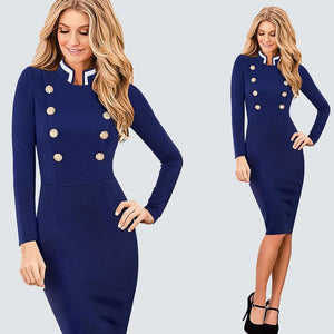 Office Style Dress Casual Work Business Office Ladies Dress Women Vintage Long Sleeve Double-Breasted Buttons Bodycon Autumn Winter Dress