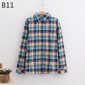 Female Shirt Fashion Plaid Shirt Female College Style Women's Blouses Long Sleeve Flannel Shirt Plus Size Cotton Blusas Office Tops