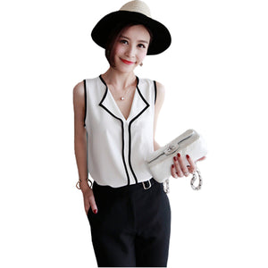 Blouse Summer Fashion Womens Casual White V Neck Sleeveless Black Side Chiffon Blouse Shirt Work Wear Women Tops