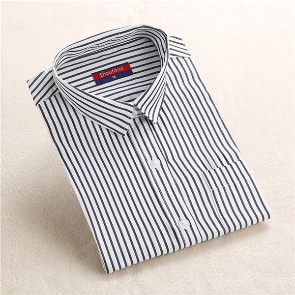 Female Shirt Women Cotton Striped Blouses Blue Black Shirt Formal Long Sleeve Ladies Office Shirts Female Work Clothing Fashion