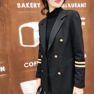 Blazer New Fashion Women Jacket Blazer in a Naval Style Double Breasted Women Blaser Femenino Formal Wear To Work Ladies Work Suits Coat E0499
