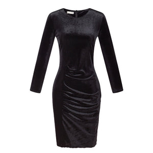 Office Style Dress Women Autumn Office Dress Plus Size Bodycon velvet Dresses Pencil