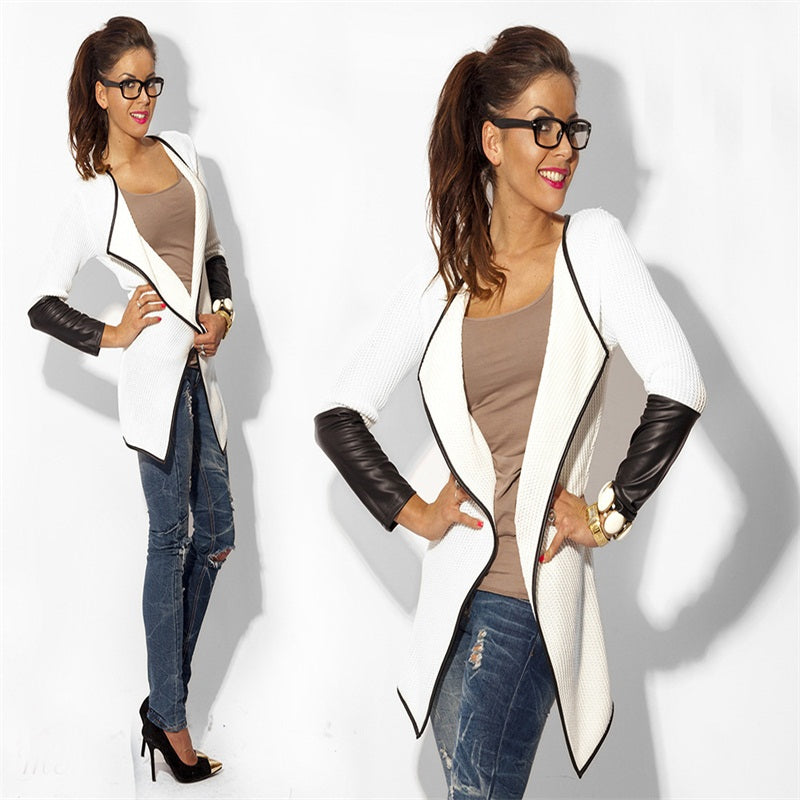 Jacket Summer Fashion Long Sleeve Faux Leather Female Blouses Sweater Casual Cardigan Woman Jacket and Coat Chaquetas
